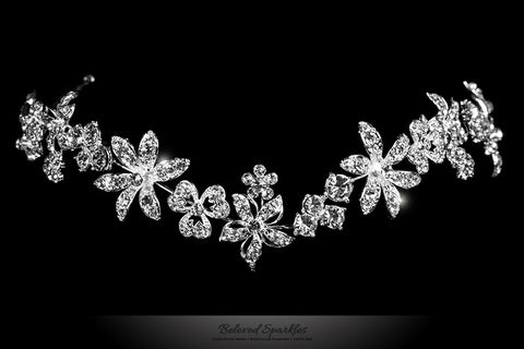 Loretta Flower Forehead Silver Headband | Swarovski Crystal - Beloved Sparkles  - 1