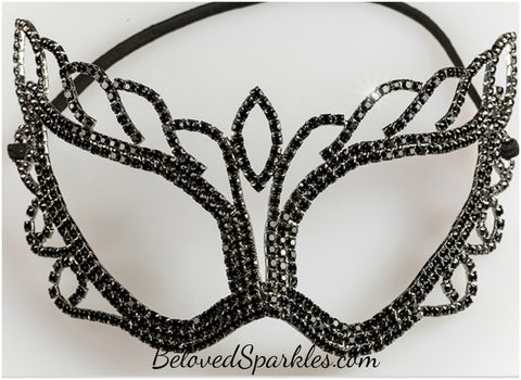 Naomi Black Passion Masquerade Mask | Crystal - Beloved Sparkles  - 2