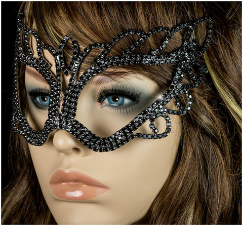 Naomi Black Passion Masquerade Mask | Crystal - Beloved Sparkles  - 3