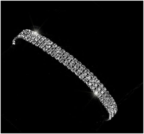 Tesse Three Rows Tennis Bracelet | Rhinestone