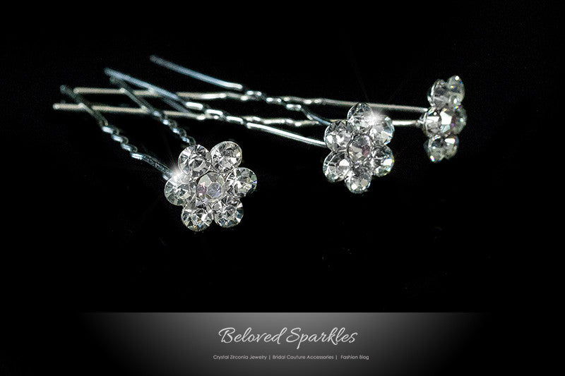 Stella-1 Clear Diamond Flower Hair Stick Pin | Rhinestone - Beloved Sparkles