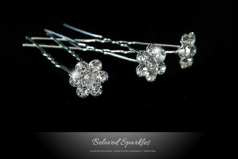 Stella-1 Clear Diamond Flower Hair Stick Pin | Rhinestone