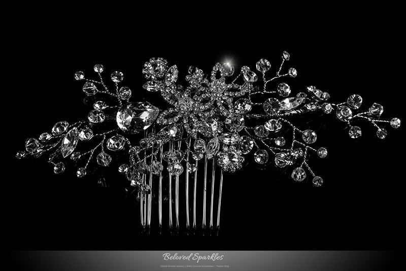 Sisley Garden Flower Leaves Hair Comb | Swarovski Crystal - Beloved Sparkles  - 1