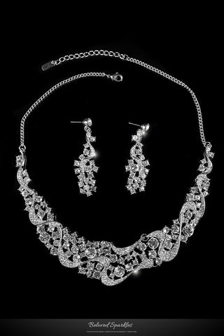 Yuki Crystal Crescent Swirl Necklace Set | Rhinestone