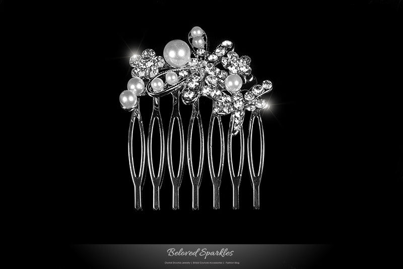 Harmon Petite Dragonfly Hair Comb | Pearl | Rhinestone - Beloved Sparkles