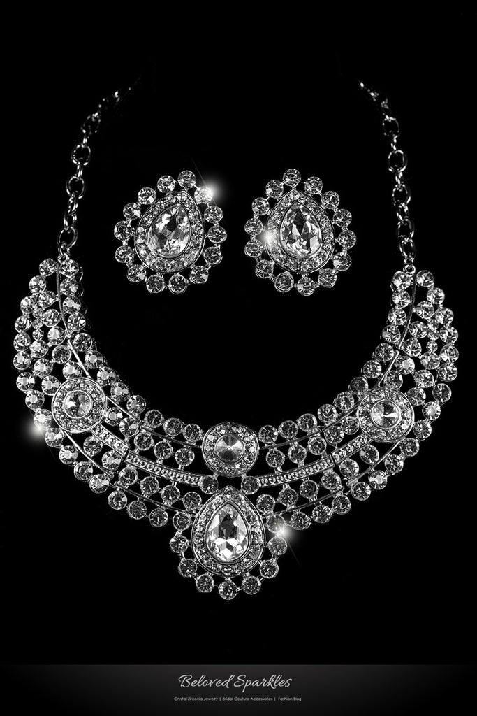 Karri Vintage Cluster Necklace Set | Crystal - Beloved Sparkles  - 1