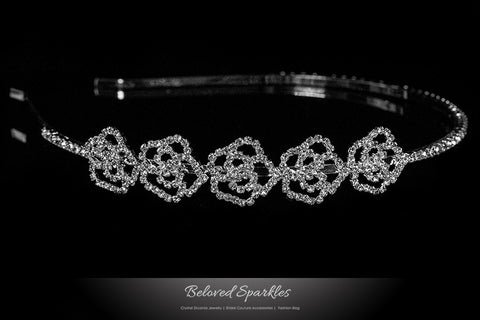 Loraine Petite Rose Rinestone Cluster Headband | Rhinestone - Beloved Sparkles  - 1