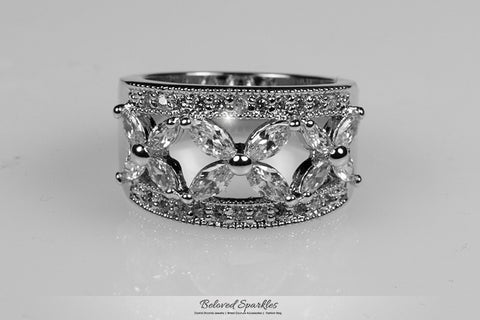 Takala Flower Cluster Cocktail Ring | 5 Carat | Cubic Zirconia - Beloved Sparkles  - 1