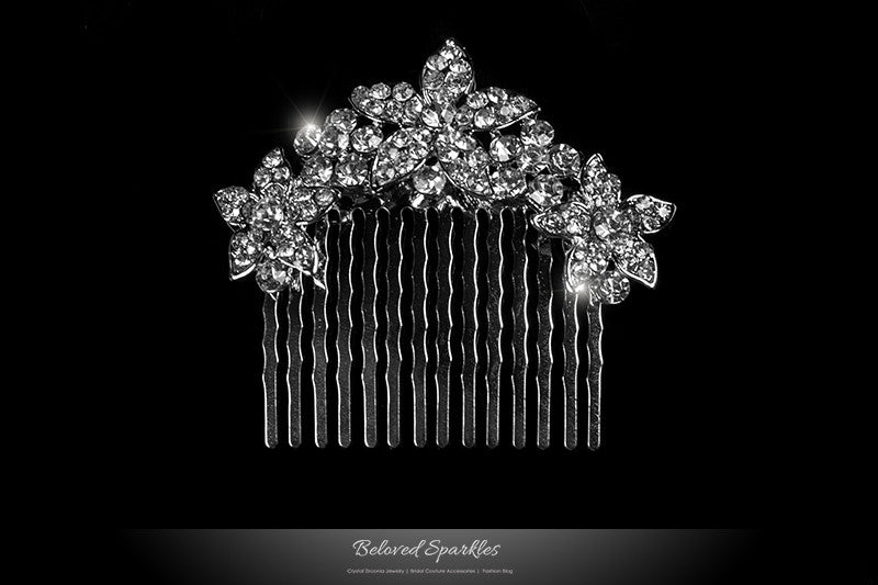 Frannie Petite Flower Hair Comb | Crystal - Beloved Sparkles
