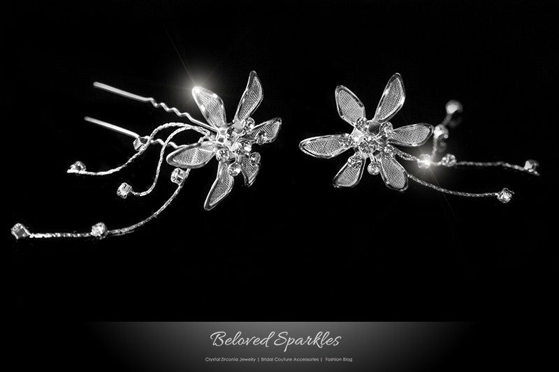 Kathy Silver Flower Hair Stick Pin | Rhinestone - Beloved Sparkles