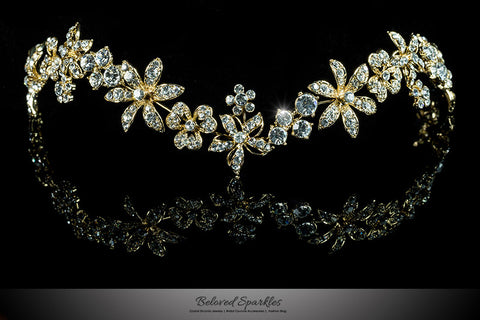 Loretta Flower Forehead Gold Headband| Swarovski Crystal