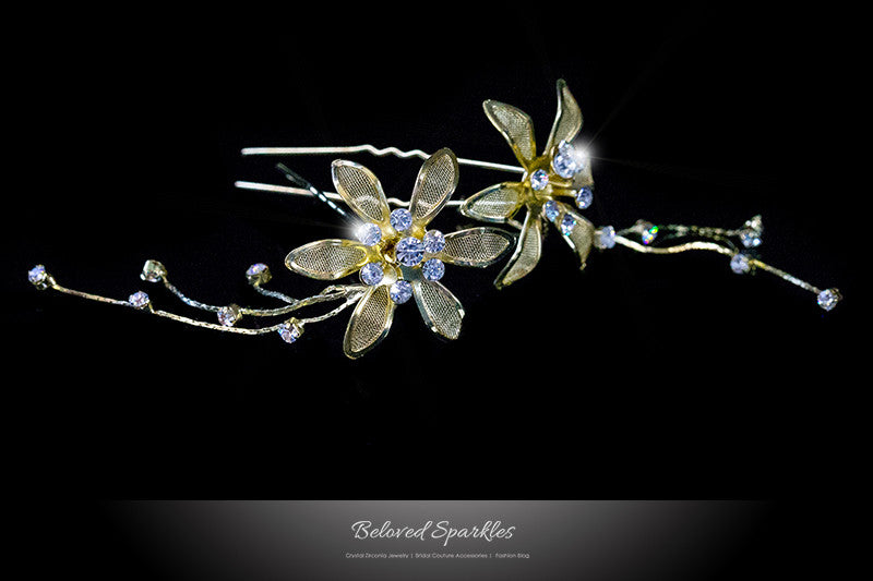Kathy Gold Flower Hair Stick Pin | Rhinestone - Beloved Sparkles