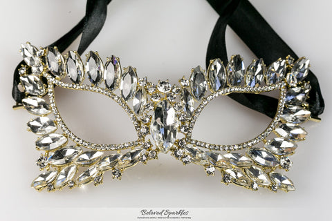 Eileen Marquise Crystal Cat Eye Masquerade Mask | Gold  | Crystal - Beloved Sparkles