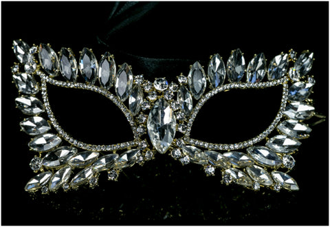 Eileen Marquise Crystal Cat Eye Masquerade Mask | Crystal | Gold