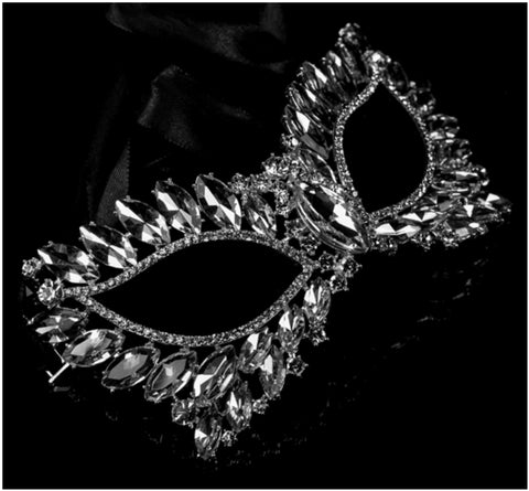 Eileen Marquise Crystal Cat Eye Masquerade Mask | Crystal | Silver
