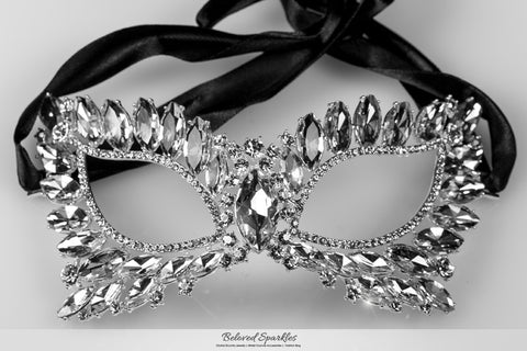 Eileen Marquise Crystal Cat Eye Masquerade Mask | Silver  | Crystal - Beloved Sparkles