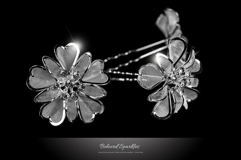 Orlina Large Mesh Flower Hair Stick Pin | Rhinestone - Beloved Sparkles  - 1