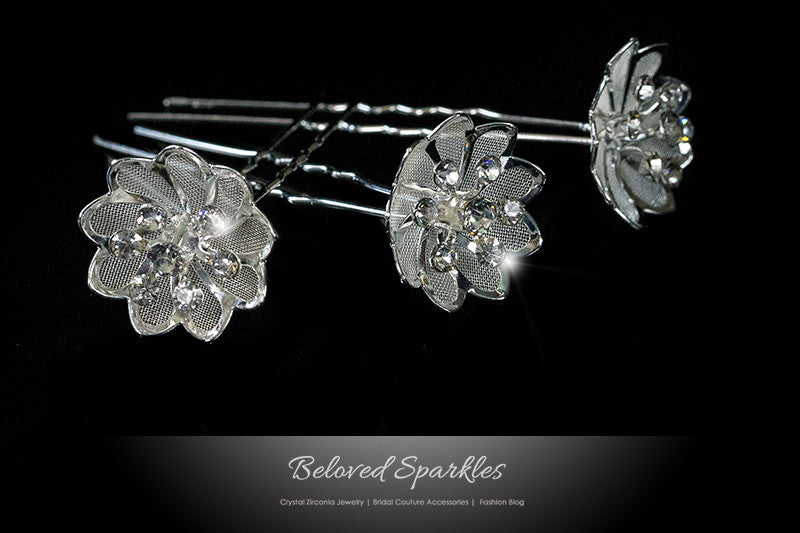 Madison Mesh Flower Hair Pin | Rhinestone - Beloved Sparkles  - 1