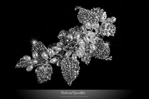 Dilan White Pearl Leaves Hair Clip | Pearl | Crystal - Beloved Sparkles