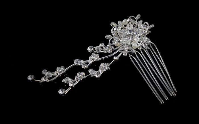 Vienne Cascade Pearl Flower Hair Comb | Crystal - Beloved Sparkles