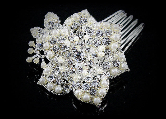 Thurma Romantic White Pearl Flower Hair Comb | Pearl | Crystal - Beloved Sparkles