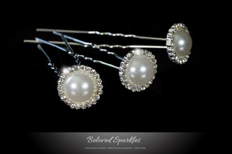 Juliet White Pearl Halo Hair Stick Pin | Rhinestone - Beloved Sparkles