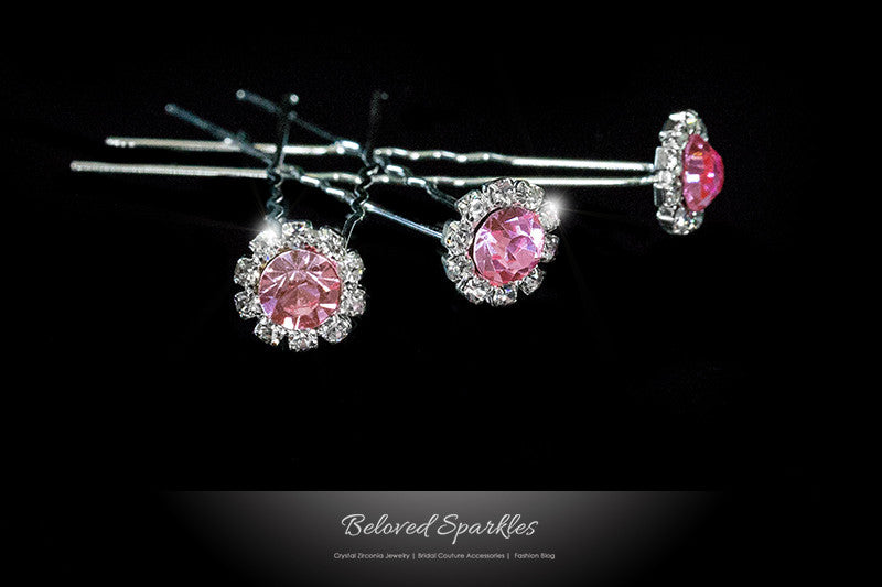 Lydia-1 Pink Rose Halo Hair Stick Pin | Rhinestone - Beloved Sparkles