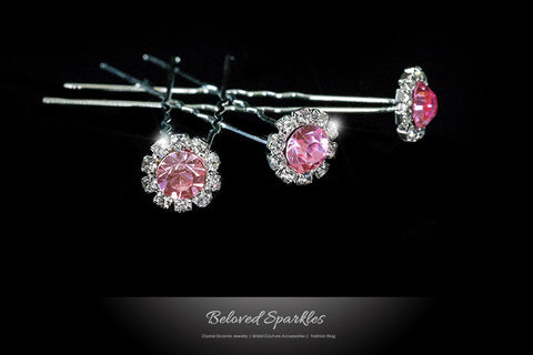 Lydia-1 Pink Rose Halo Hair Stick Pin | Rhinestone