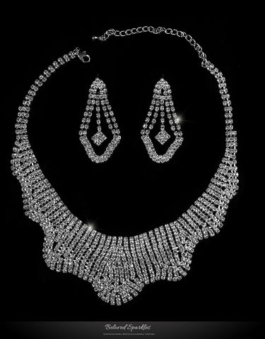 Gila Wavy Cluster Necklace Set | Rhinestone