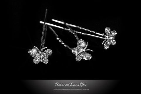 Trina Butterfly Hair Stick Pin | Rhinestone