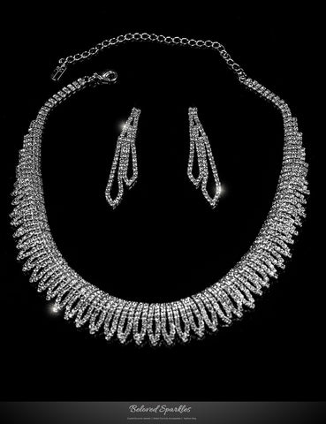 Docia Elegant Rhinestone Choker Necklace Set | Crystal - Beloved Sparkles