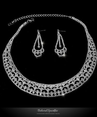 Tyzna Art Deco Arch Necklace Set | Rhinestone