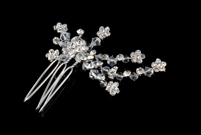 Greta Petite Flower Hair Comb | Crystal - Beloved Sparkles