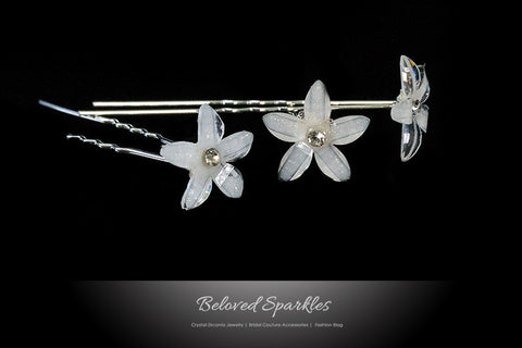 Viva White Flower Hair Stick Pin | Rhinestone