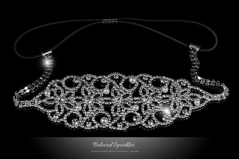 Liana White Pearl Rhinestone Cluster Stretchable Headband | Rhinestone - Beloved Sparkles  - 1
