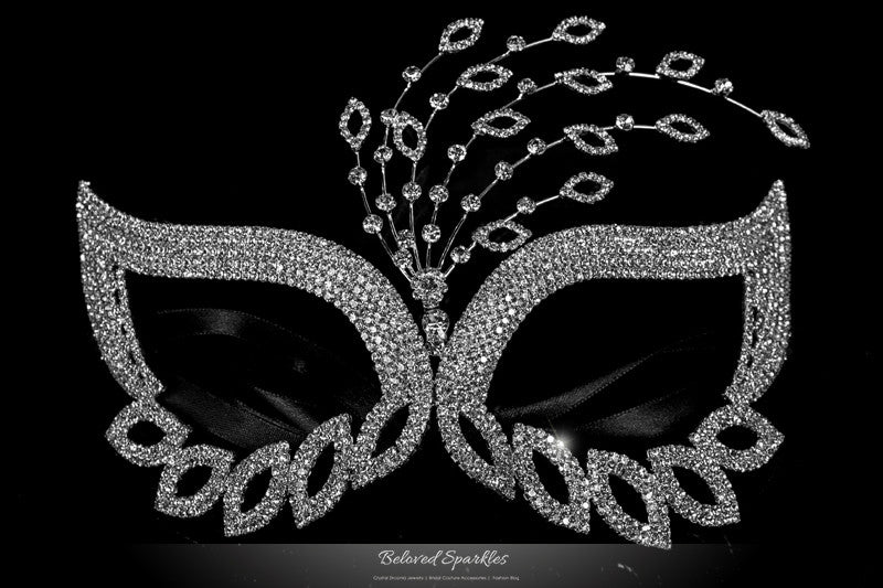 Glynn Art Deco Leaves Masquerade Mask | Silver | Crystal - Beloved Sparkles