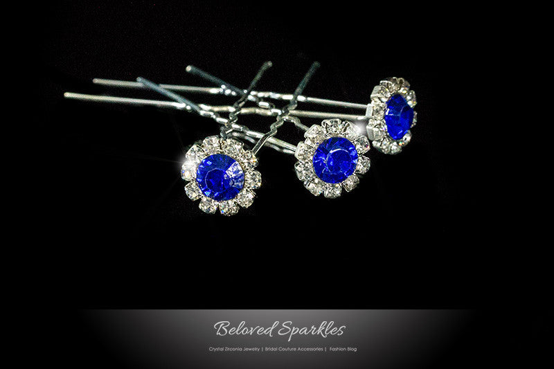 Lydia-1 Sapphire Blue Halo Hair Stick Pin | Rhinestone - Beloved Sparkles