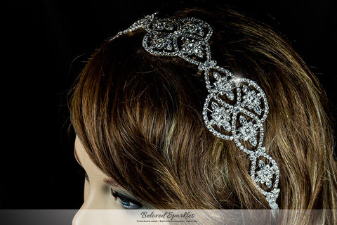 Regina Art Deco Hair Tie Headband | Swarovski Crystal - Beloved Sparkles  - 4