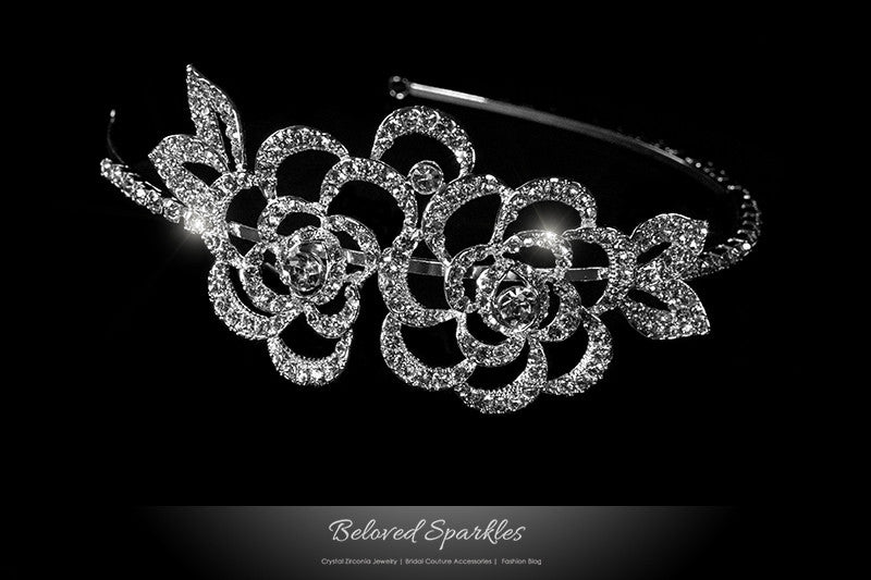 Francine Double Flower Headband | Swarovski Crystal - Beloved Sparkles
