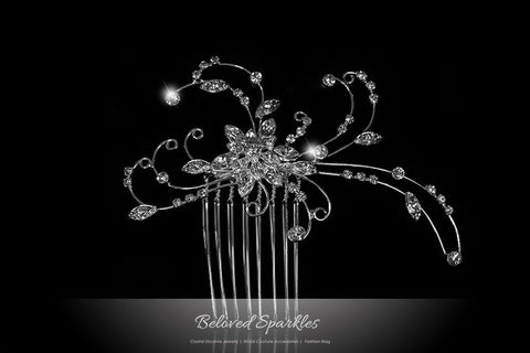 Janet Flowery Leaves Hair Comb | Swarovski Crystal - Beloved Sparkles