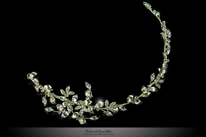 Trista Gold Leaf Hair Tie Headband | Gold | Swarovski Crystal - Beloved Sparkles  - 1
