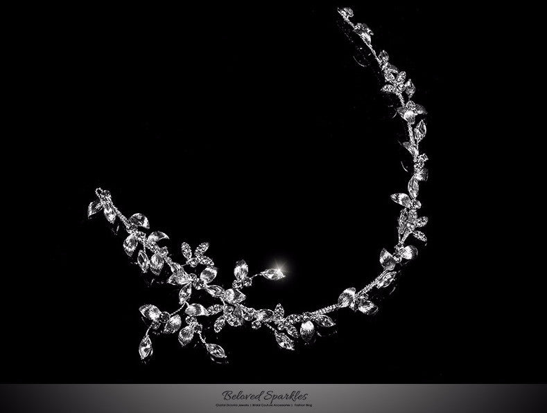 Trista Silver Leaf Hair Tie Headband | Swarovski Crystal - Beloved Sparkles  - 1