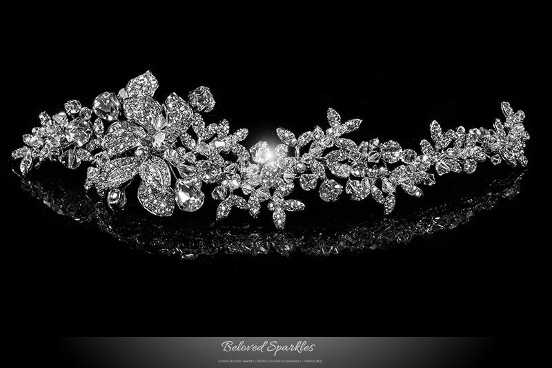 Lizabeth Ila Long Floral Cluster Hair Clip | Swarovski Crystal - Beloved Sparkles  - 1