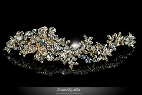 Lizabeth Ila Long Floral Cluster Gold Hair Clip | Swarovski Crystal - Beloved Sparkles  - 1