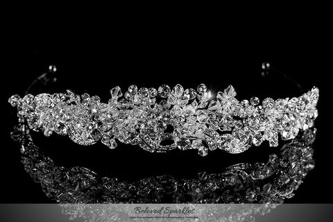 Leda Cluster Statement Silver Tiara | Swarovski Crystal - Beloved Sparkles  - 1