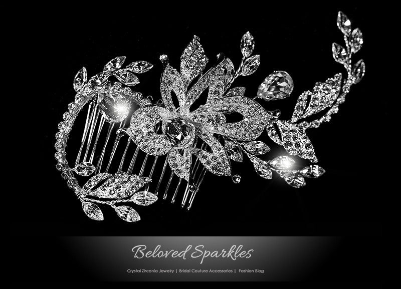 Trina Flower Twine Hair Comb | Swarovski Crystal - Beloved Sparkles  - 1