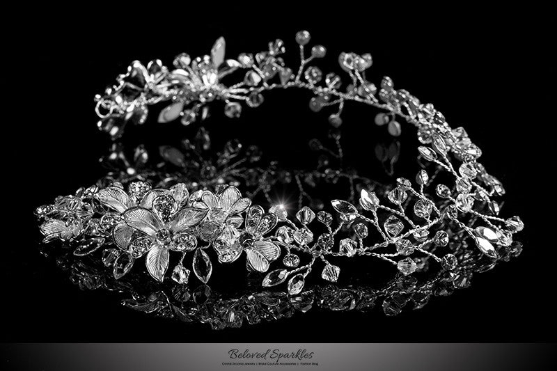 Estella Flower Spray Silver Headband | Swarovski Crystal - Beloved Sparkles  - 1