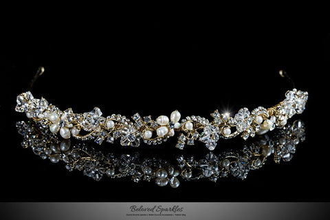 Eva Floral Pearl Gold Headband | Swarovski Crystal - Beloved Sparkles  - 1