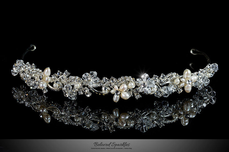Eva Floral Cream Pearl Silver Headband | Swarovski Crystal - Beloved Sparkles  - 1