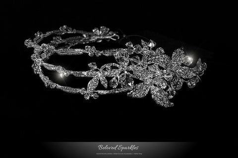 Korina Three Rows Floral Silver Headband | Swarovski Crystal